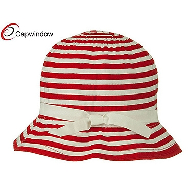 查看 (15018) Red Sewn Braid Woman's Bucket Hat with Stripe 详情